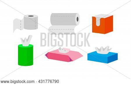 Toilet Paper And Kitchen Towel Roll Vector Illustrations Set. Wet Wipes, Boxes And Containers With T