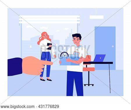 Dismissal Of Office Worker Flat Vector Illustration..cartoon Huge Boss Hand Indicating Exit Of Upset