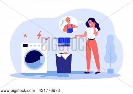 Young Girl Calling Repairman Of Washing Machines. Flat Vector Illustration. Woman Standing In Bathro
