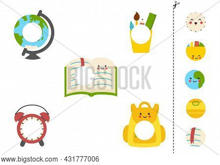 Cut And Glue Parts Of School Supplies. Educational Logical Game For Kids. Matching Game.