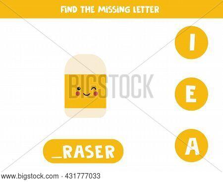 Find Missing Letter. Cute Kawaii Eraser. Educational Spelling Game For Kids.