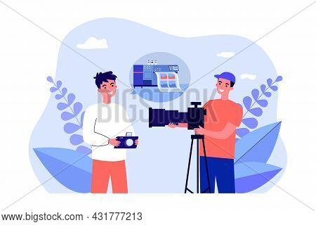 Photographers Discussing High-tech Image Printing. Flat Vector Illustration. Two Young Men With Came