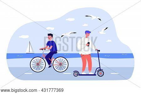 Teenagers Riding Bicycle And Scooter Along Sea Coast. Flat Vector Illustration. Boys Enjoying Summer