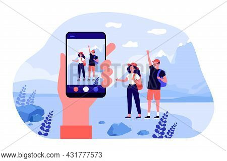 Hand Holding Smartphone, Taking Pictures Of Young Travelers. Flat Vector Illustration. Man And Woman