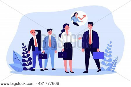 Woman Talking To Her Boss In Front Of Her Envious Colleagues. Flat Vector Illustration. Businesswoma