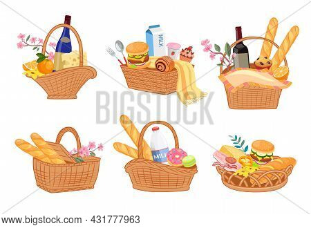 Colorful Set Of Picnic Baskets Full Of Delicious Food. Cartoon Vector Illustration. Wicker Baskets W