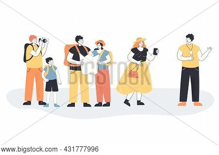 Tour Guide Cartoon Character Telling Tourists About City. Group Of People On Sightseeing Trip, Man A