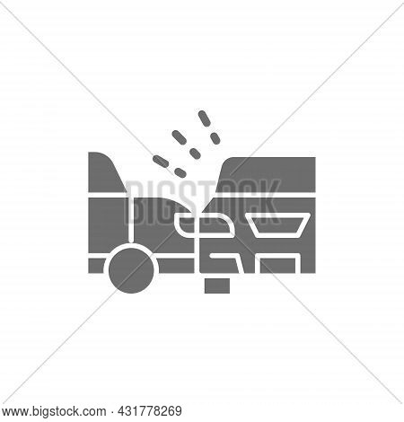 Accident, Side Collision With Two Automobiles, Car Crash Grey Icon.