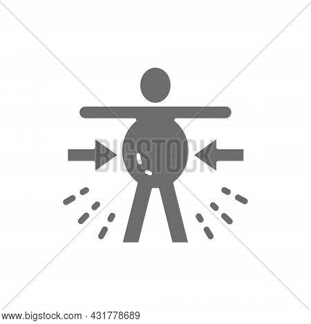 Abdominal Distention, Obesity, Stomachache Grey Icon. Isolated On White Background