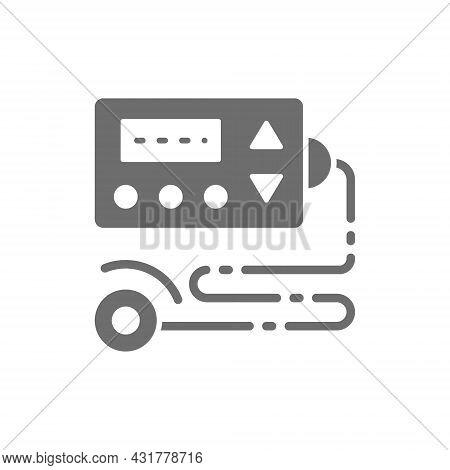 Cardiograph, Ecg, Electrocardiogram, Blood Pressure Monitor Grey Icon.