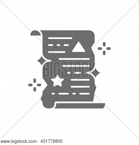 Magic Spell Scroll, Unrolled Paper Certificate Grey Icon.