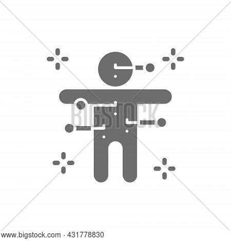 Voodoo Doll With Needles Grey Icon. Isolated On White Background