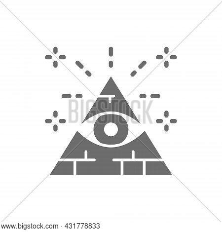 All Seeing Eye, Triangle, Pyramid Grey Icon.