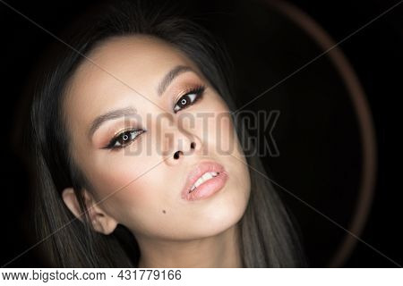 Close-up portrait asian model. Beautiful young woman with make-up
