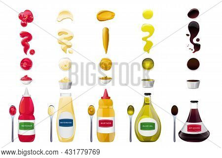Big Sauce In Bottles And Splashes Set. Soy, Olive Oil, Mustard, Ketchup And Mayonnaise Sauces. Condi