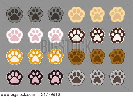Vector Collection Of Cat Foot Paw. Symbols Of Domestic Friend, Cat Paw Prints Set