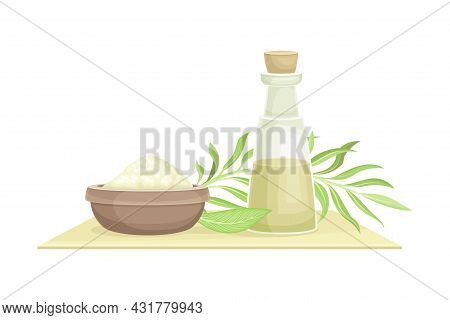 Spa And Aromatherapy With Salt In Bowl And Essential Oil In Jar Vector Composition