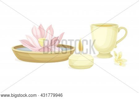 Spa And Aromatherapy With Burning Candle And Lotus Flower Vector Composition