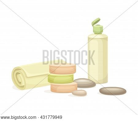 Spa And Aromatherapy With Lotion In Bottle And Rolled Towel Vector Composition