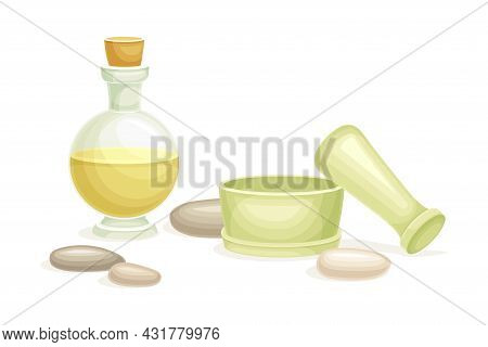 Spa And Aromatherapy With Essential Oil In Jar And Mortar With Pestle Vector Composition