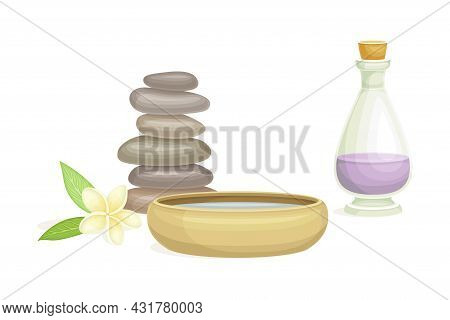 Spa And Aromatherapy With Stone And Essential Oil In Jar Vector Composition