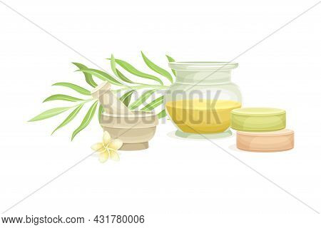 Spa And Aromatherapy With Essential Oil And Mortar With Pestle Vector Composition