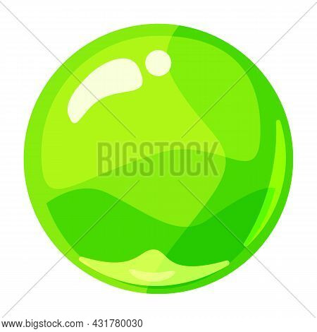 Ball Green Shiny Glossy Colorful Game Art. Magic Crystal Glass Sphere, Bubble Shot Elements. Cartoon