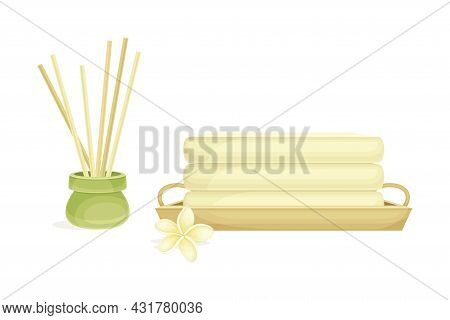 Spa And Aromatherapy With Incense And Folded Towel Vector Composition