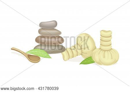 Spa And Aromatherapy With Stone And Herbal Bag Vector Composition