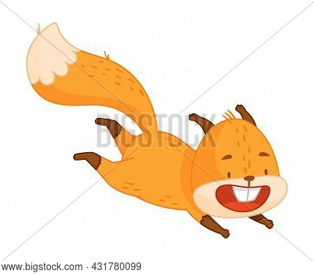 Funny Orange Squirrel Character With Bushy Tail Jumping And Smiling Vector Illustration