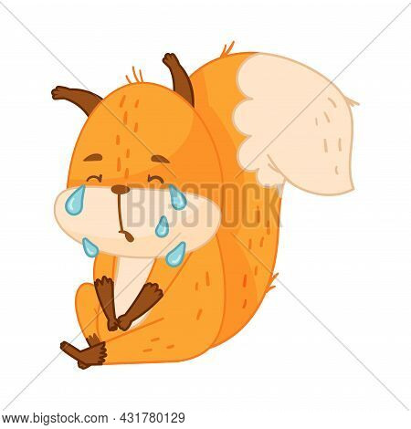 Funny Orange Squirrel Character With Bushy Tail Sitting And Crying Vector Illustration
