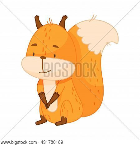 Funny Orange Squirrel Character With Bushy Tail Sitting And Smiling Vector Illustration