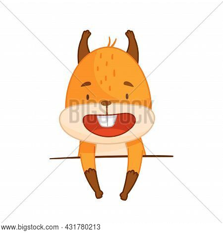 Funny Orange Squirrel Character With Bushy Tail Standing Vector Illustration
