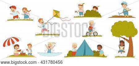 Children Enjoying Summer Flying Kite And Having Picnic Vector Set