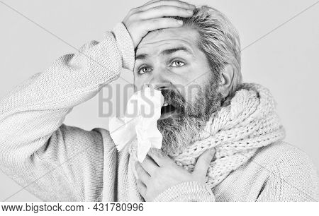 Bearded Man Sick. Cold Flu. First Symptom. Headache Virus Symptom. Immune Response. Health Care And