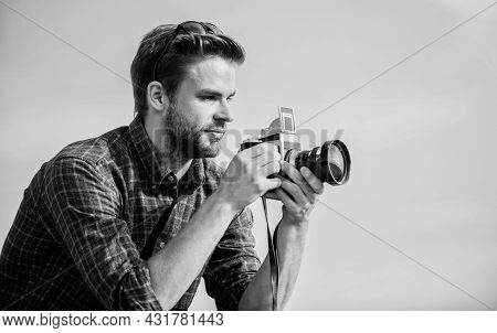 Click Of Artistic Joy. Capture Adventure. Journalist. Travel With Camera. Male Fashion Style. Lookin