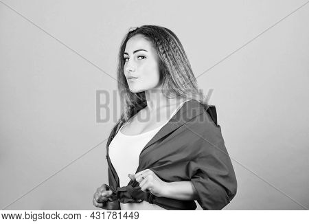 Her Perfect Style. Sexy Woman With Long Hair. Stylish Hair. Woman In Hipster Trend. Makeup For Real