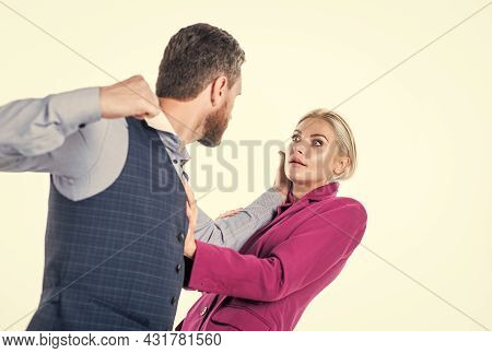 Couple Having Relation Problems Of Domestic Violence And Physical Abuse, Crisis