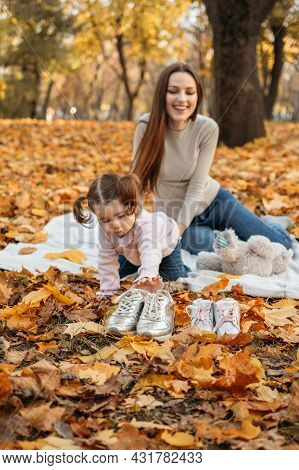 Dressing Child For Autumn Fall Outdoor Play. Autumn Fashion For Baby Toddler, Kids. Autumn Outdoor C