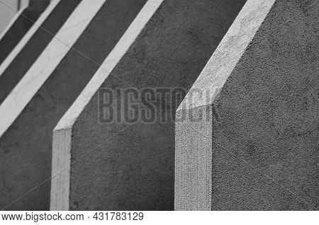 Abstract Monochrome Architectural Geometric Composition. Repetitive Architectural Forms Of The Exter