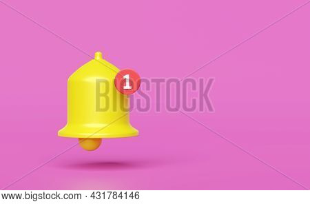 Icon Yellow Notification Bell And New Notification Isolated On Pink Background,concept 3d Illustrati