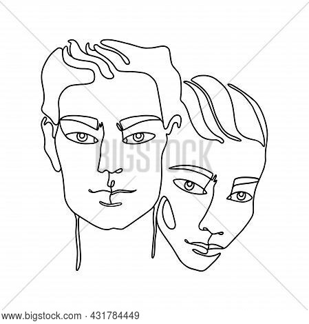 Outline Couple Silhouettes Of Head And Faces. Man And Woman Together. Line Art Two People In Love. O