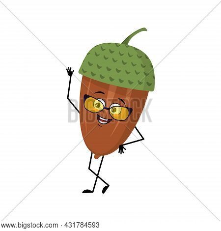 Character Acorn With Glasses And Joyful Emotions, Joyful Face, Smile Eyes, Arms And Legs. Cheerful F