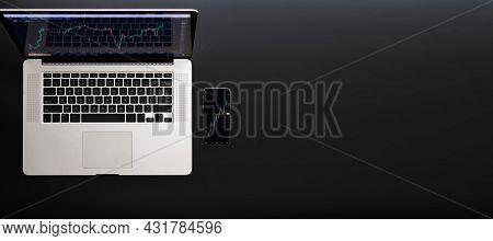 Digital Information. Investment Business Technology App On Digital Screen. Finance Application For S