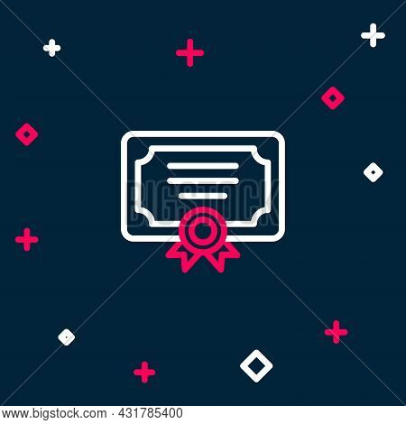 Line Certificate Template Icon Isolated On Blue Background. Achievement, Award, Degree, Grant, Diplo