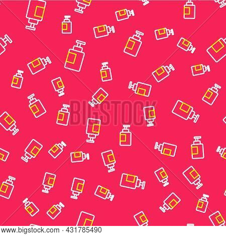 Line Hand Sanitizer Bottle Icon Isolated Seamless Pattern On Red Background. Disinfection Concept. W