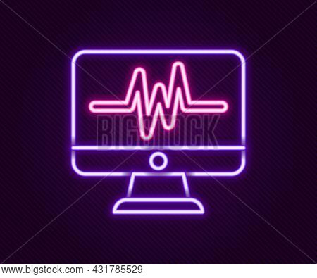 Glowing Neon Line Computer Monitor With Cardiogram Icon Isolated On Black Background. Monitoring Ico