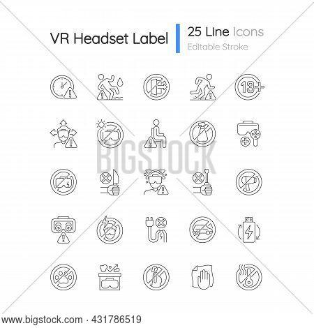 Virtual Reality Headset Usage Linear Manual Label Icons Set. Customizable Thin Line Contour Symbols.