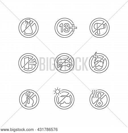 Vr Glasses Usage Restrictions Linear Manual Label Icons Set. Customizable Thin Line Contour Symbols.