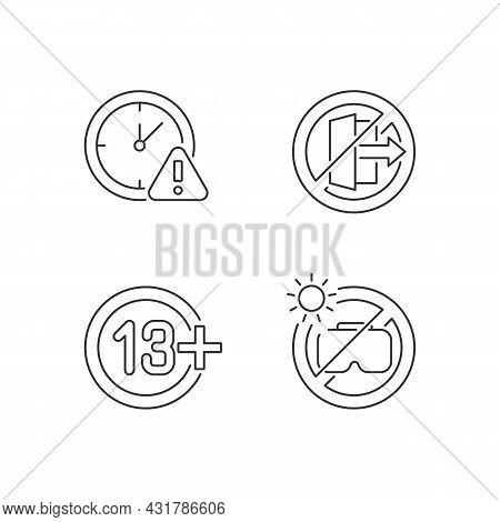 Vr Headset Usage Prohibitions Linear Manual Label Icons Set. Customizable Thin Line Contour Symbols.